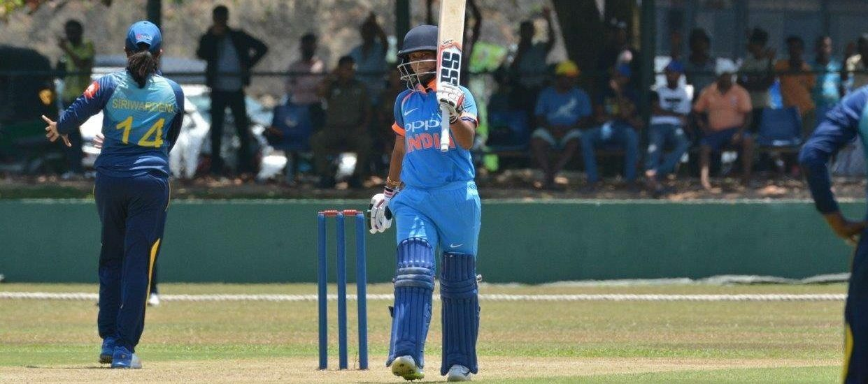 India's Taniya Bhatia after scoring her maiden half-century in her 2nd ODI. ©SLC