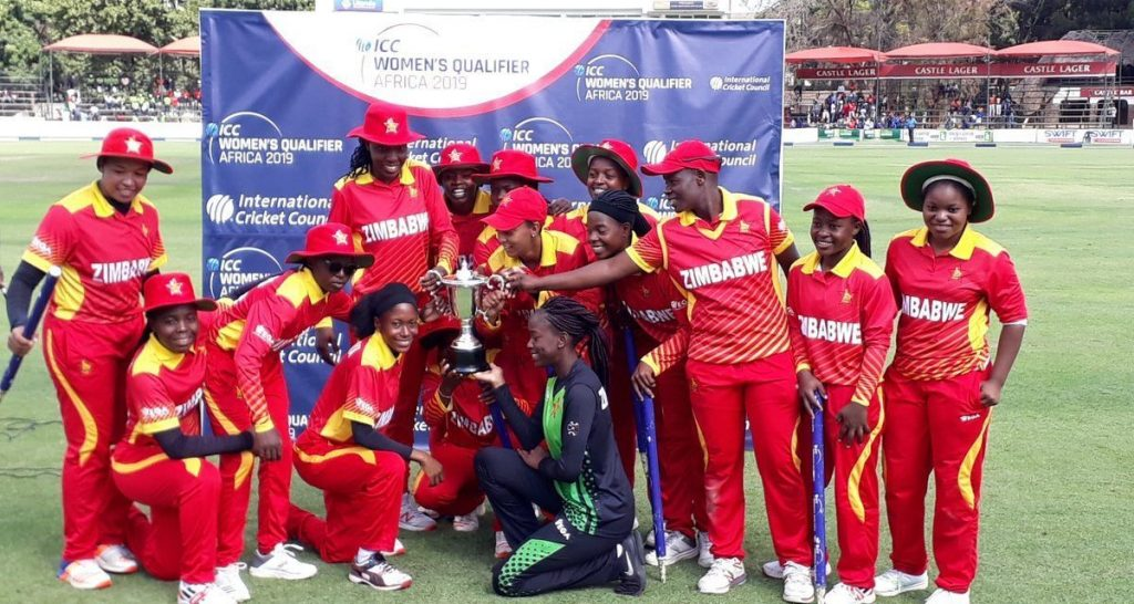 Zimbabwe celebrate after winning the Africa region qualifier at home. © ICC