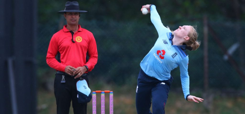 England's Sarah Glenn in action. © England Cricket/Twitter