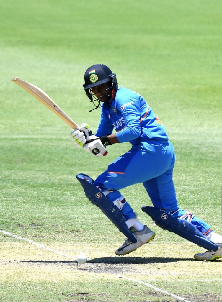 Arundhati Reddy flicks the ball to the leg-side. © Getty Images