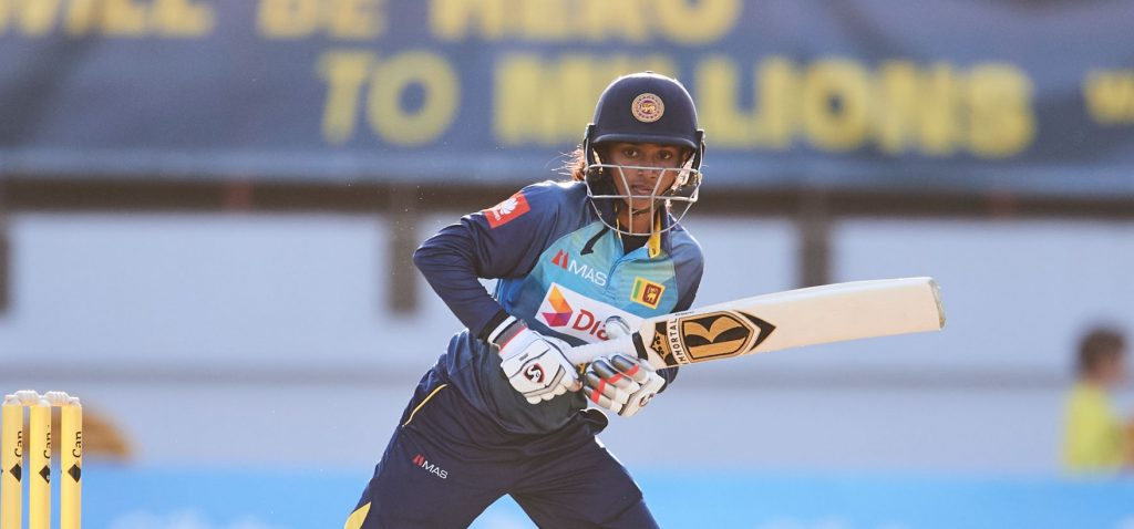 Harshitha Madavi in action for Sri Lanka. © Getty Images