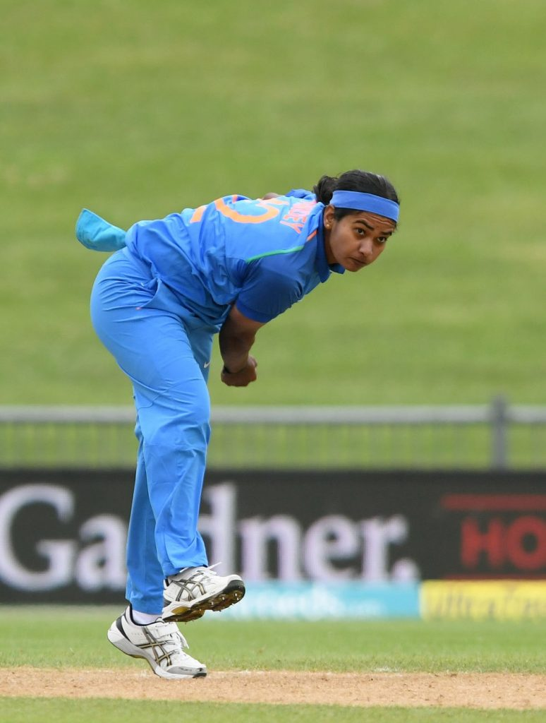 Shikha Pandey in action. © Getty Images