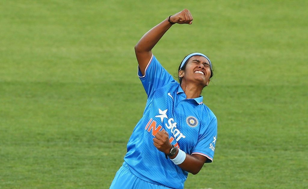 Shikha Pandey celebrates a wicket. © Getty Images