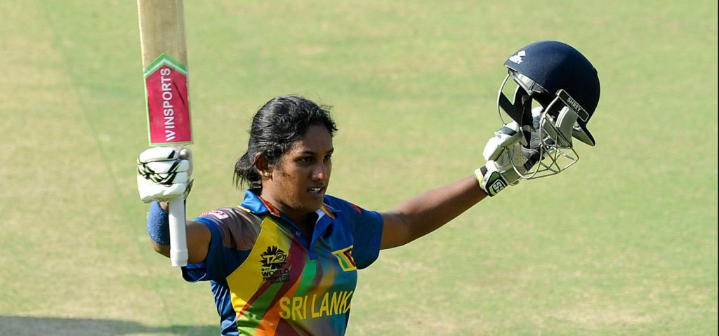 Chamari Atapattu celebrates her maiden half-century. © Getty Images