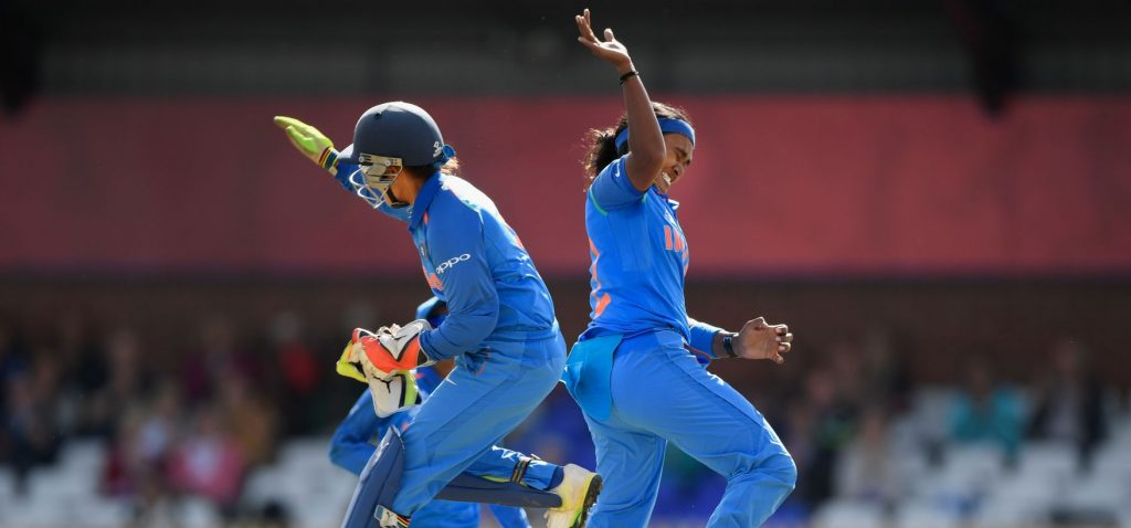 Shikha Pandey celebrates the wicket of Beth Mooney in the 2017 Women's World Cup. © Getty Images