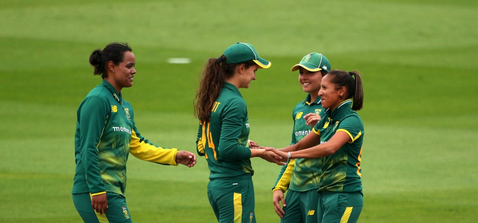 Shabnim Ismail celebrates a wicket with her teammates. © Getty Images