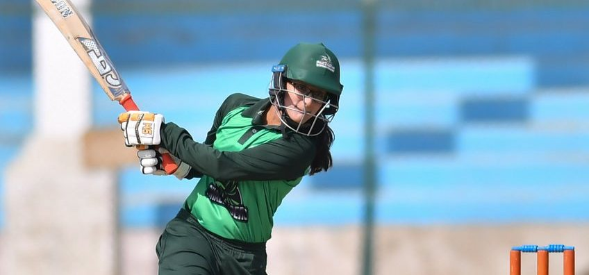 Muneeba Ali plays an expansive shot on the off-side. © PCB