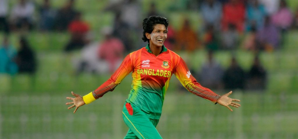 Panna Ghosh celebrates a wicket against Sri Lanka. © Getty Images