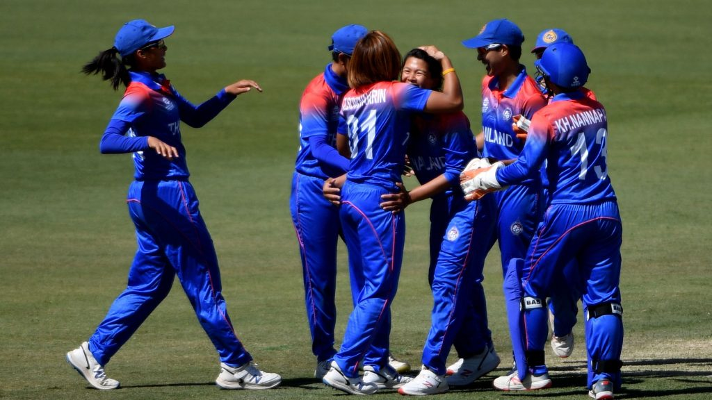 Ratanaporn Padunglerd is congratulated for taking a wicket. © ICC