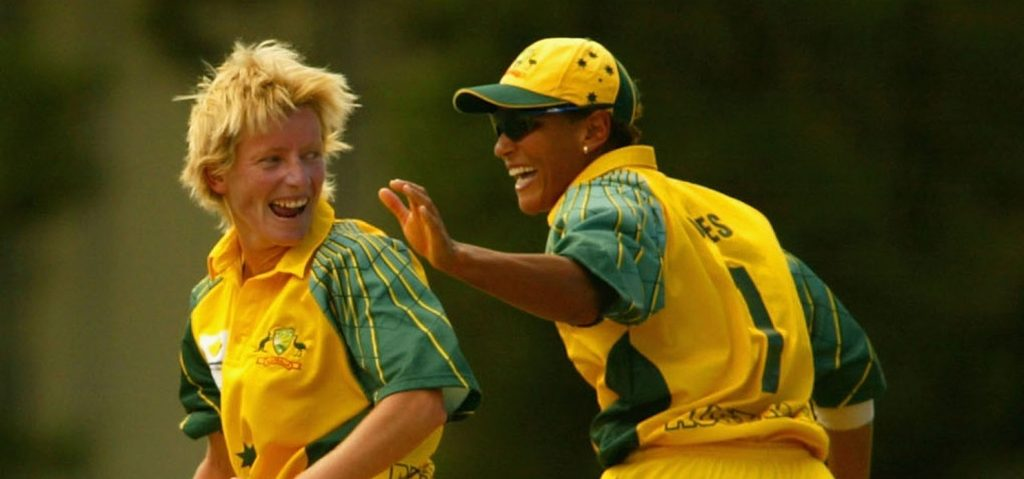 Cathryn Fitzpatrick celebrates a wicket with Melanie Jones. © Getty Images