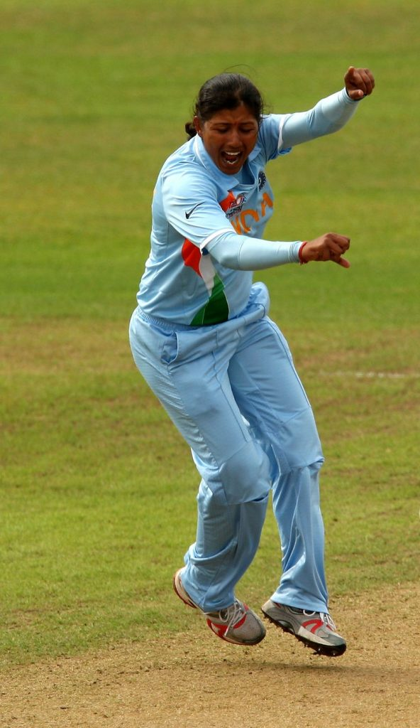 Rumeli Dhar celebrates a wicket. © Getty Images