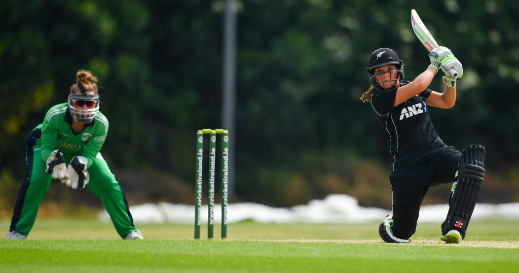 Amelia Kerr smashes one over cover in her record breaking knock. © Cricket Ireland