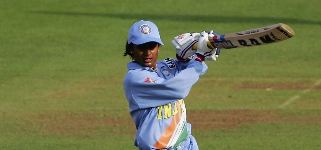 Mithali Raj plays the ball deftly through the off-side. © Getty Images
