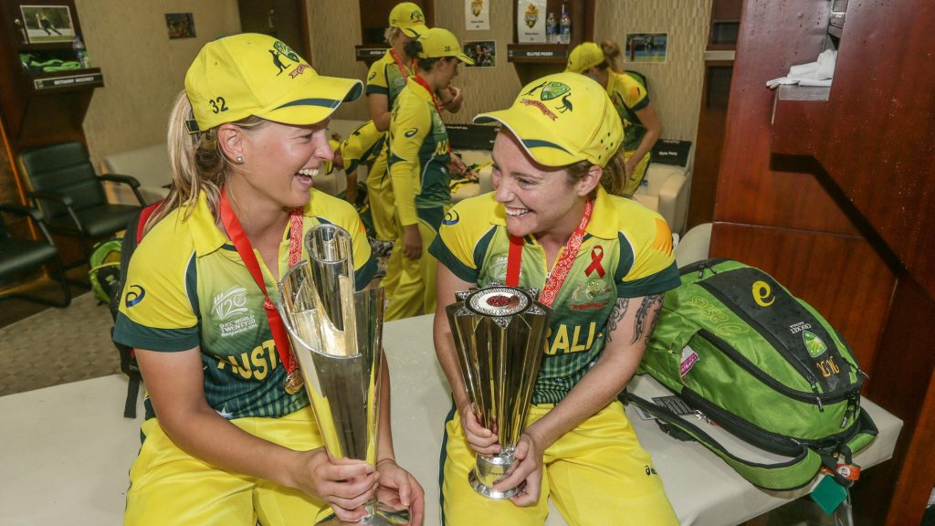 Meg Lanning and Sarah Coyte after the 2014 T20 World Cup. © ICC