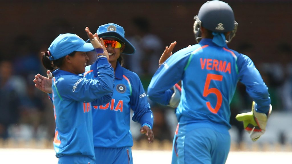 Ekta Bisht celebrates a wicket with her teammates. © ICC