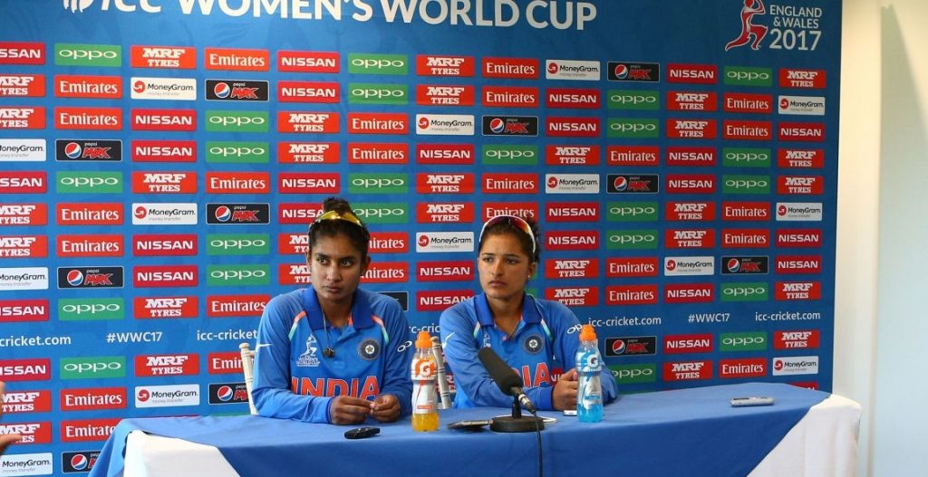 Mithali Raj and Sushma Verma answer questions at a press conference. © Getty Images