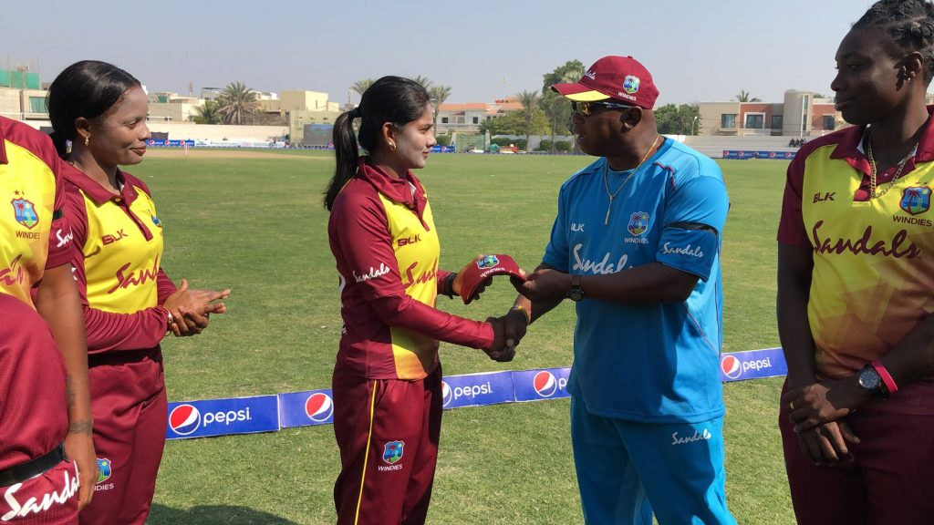 Karishma Ramharack receives her T20I cap. © Windies Cricket Facebook