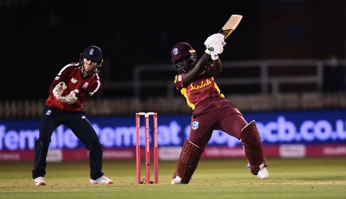 Deandra Dottin hits one through the off-side against England. © Cricket West Indies/Twitter